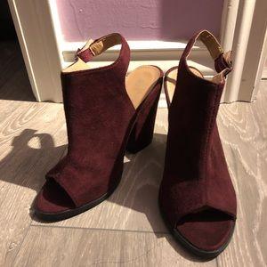 Cute Peep Toe Maroon Heels